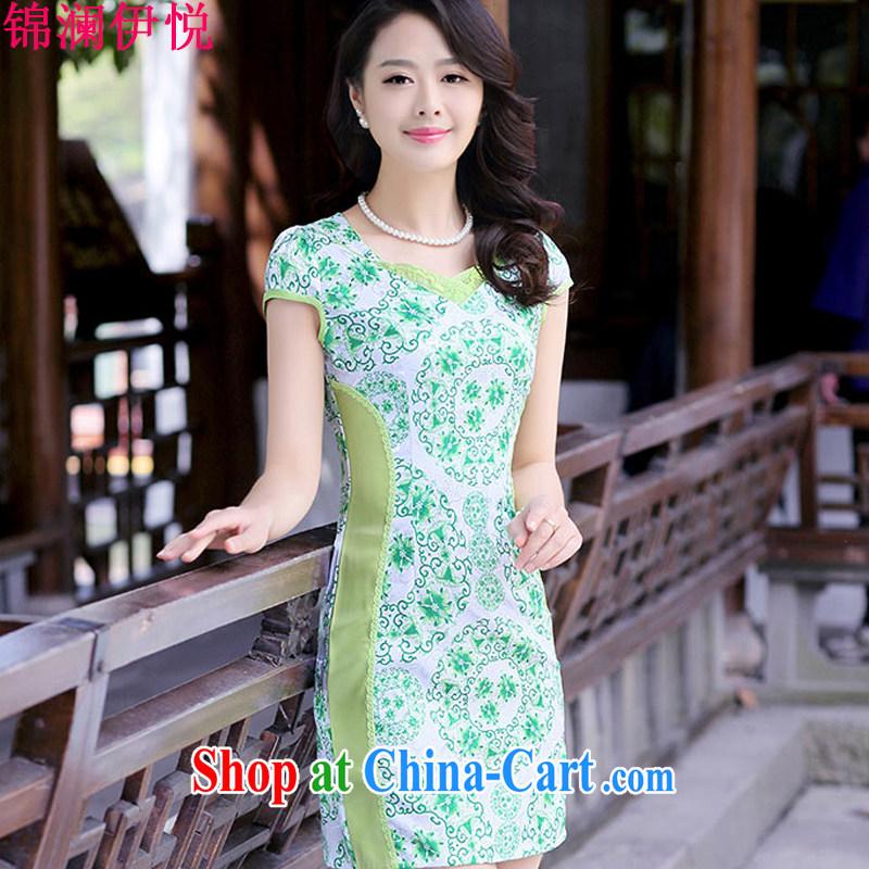 kam world the Hyatt retro China wind National wind stamp blue and white porcelain beauty graphics thin dresses skirts dresses summer new elegance green XXL