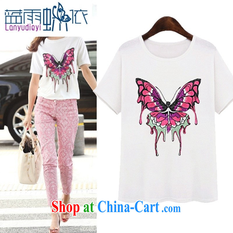 hamilton 2015 Western female T shirts summer new short-sleeved three-dimensional embroidery butterfly pattern loose T-shirt T shirt 5179 white XL