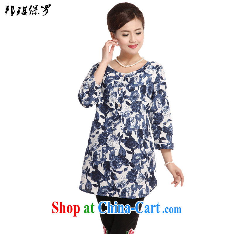 Bong-ki Paul 2015 spring and summer new Ethnic Wind Chinese, improved Chinese elderly in 7 sub-cuff cotton the mother in long T shirt T-shirt woman blue 4 XL