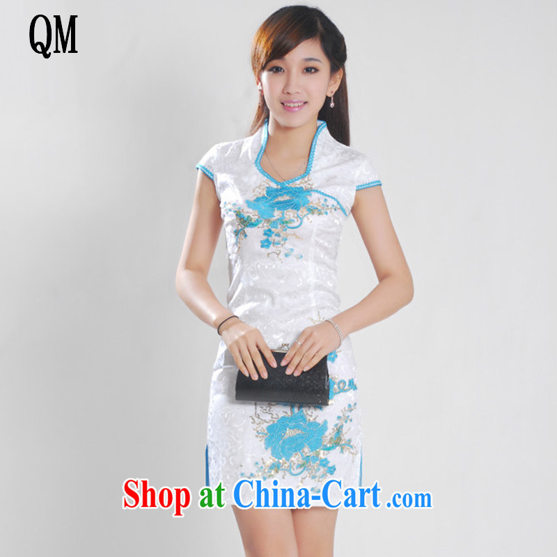 Shallow end female dresses jacquard cotton Web, peony flowers improved cheongsam Chinese JT 901 white blue XL