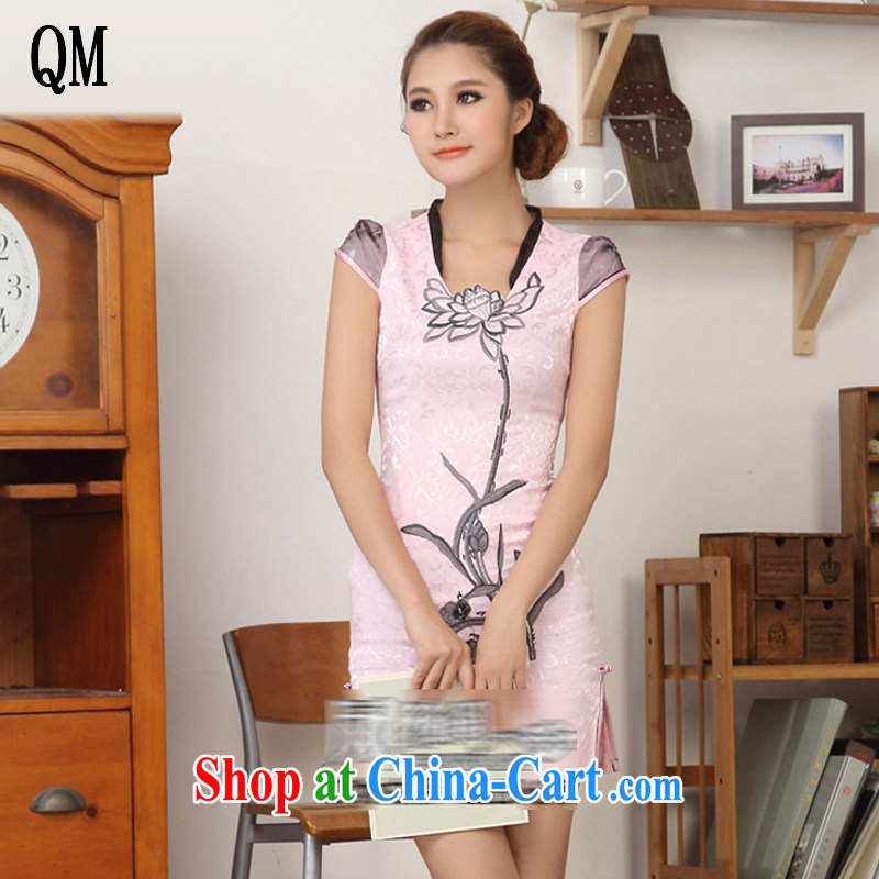light at the national wind Lotus embroidery cheongsam stylish beauty, for improved fashion cheongsam JT 328 #pink XXL