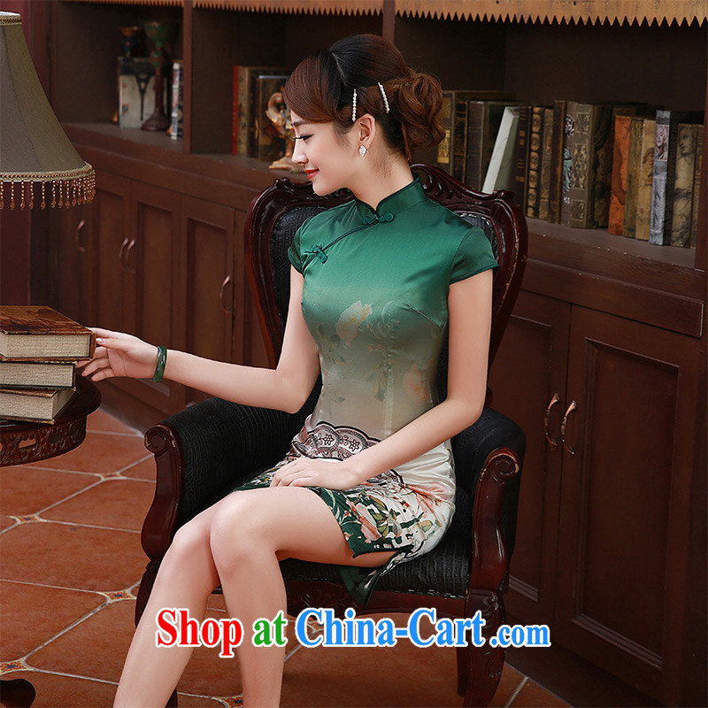 2015 summer new stylish improved sauna silk heavy Silk Cheongsam dress dresses Q 1052 Green S