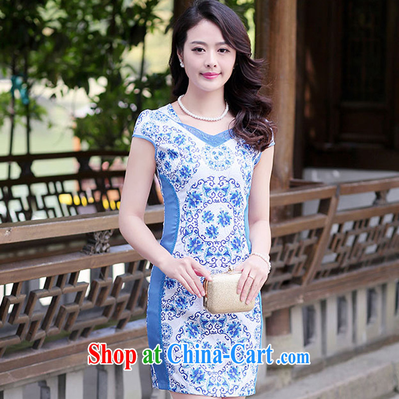 2015 spring and summer new short-sleeved cheongsam dress retro beauty graphics thin dresses, long embroidered embroidery cheongsam 1516 blue and white porcelain XXL