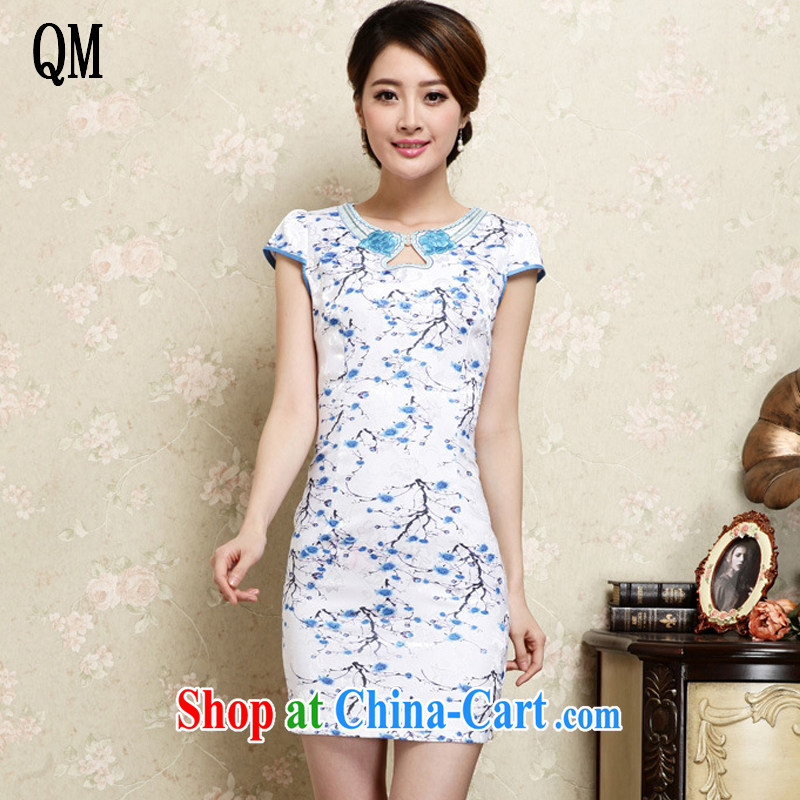 Shallow end female cheongsam Chinese national retro style beauty improved jacquard cotton robes JT 1022 blue XL