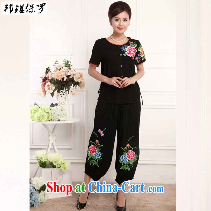 Bong-ki Paul 2015 New National wind cotton the commission embroidered Chinese package, summer short-sleeved T-shirt pants mom with Chinese improved the service package Black if you want to order, please contact customer support.