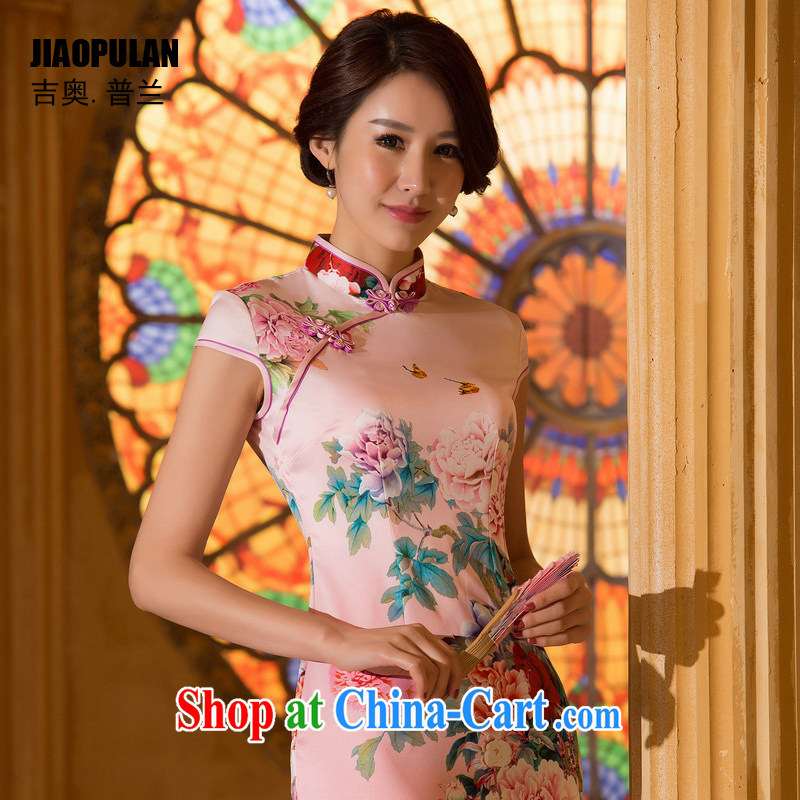 Mr. Kaplan 2015 spring and summer new cheongsam Chinese style dress daily fashion improved silk short cheongsam dress PL 0640 pink XXL