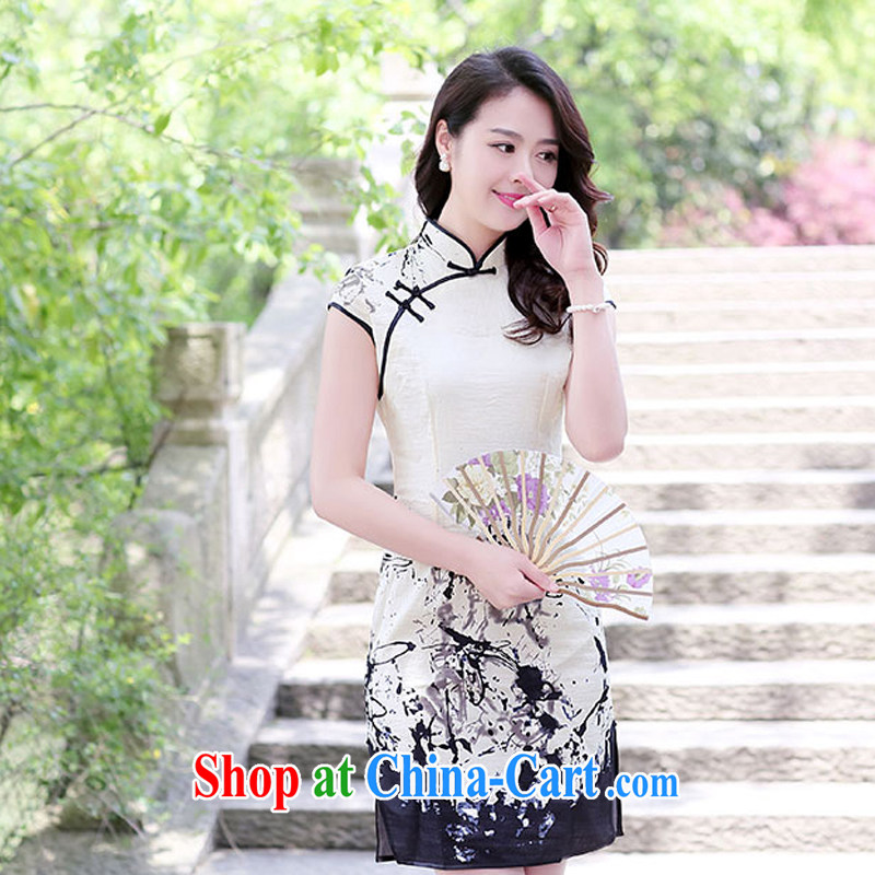 2015 new cheongsam dress Spring Summer cultivating cheongsam dress retro improved stylish short cotton dresses the daily female 1521 ink spend XXL