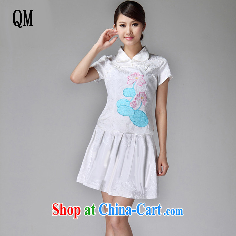 Very late summer 2015, female qipao lapel classic light lotus 100 hem cheongsam dress JT 229 white XXL