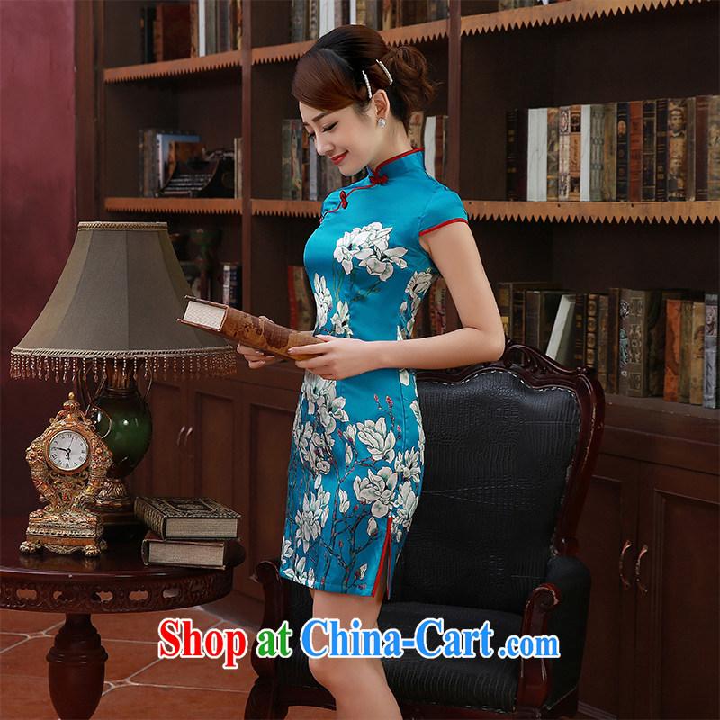 2015 new spring and summer dresses retro short-sleeved short heavy really Silk Cheongsam dress Q 1053 light blue S