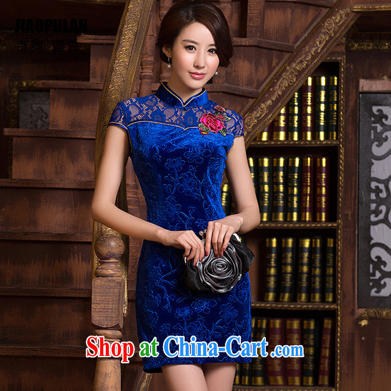 Mr. Kaplan 2015 spring and summer new female Ethnic Wind daily fashion improved dresses beauty lace short cheongsam PL 0700 BMW blue XXL