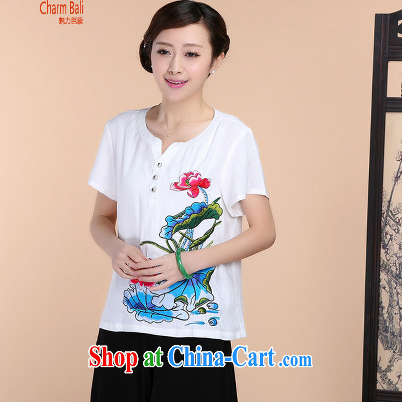 2015 summer beauty antique embroidered Chinese short-sleeved V collar short-sleeve T-shirt loose pants two piece set with white shirt XXXL