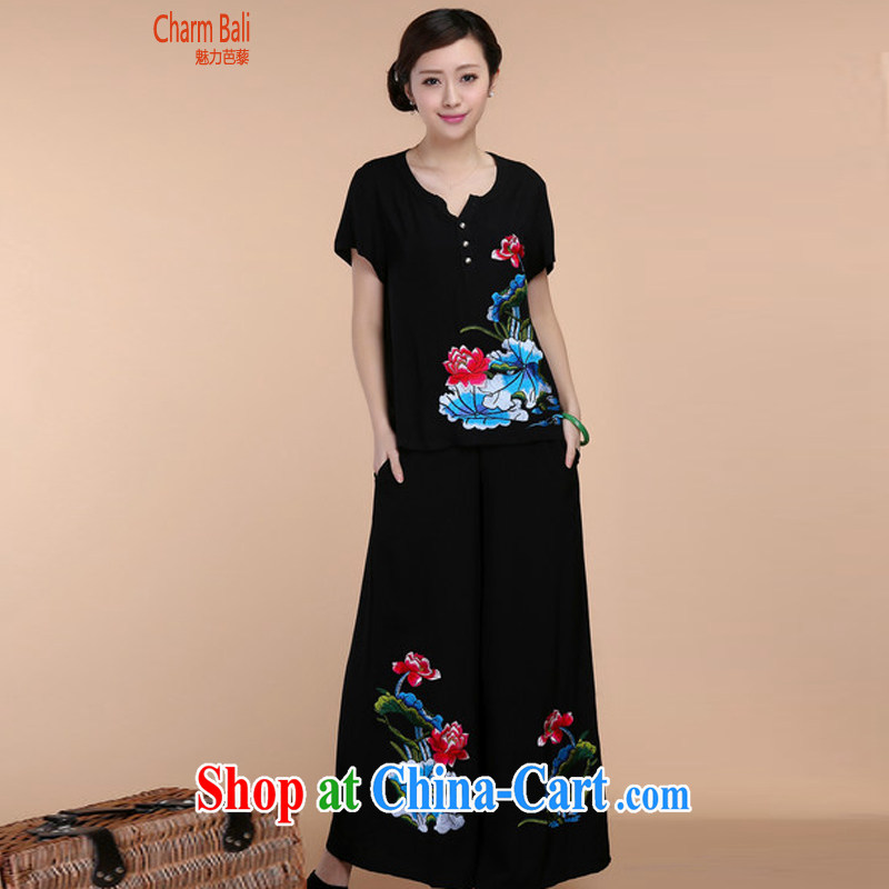 2015 summer beauty antique embroidered Chinese short-sleeved V collar short-sleeve T-shirt loose pants two piece set with black T-shirt XXXL