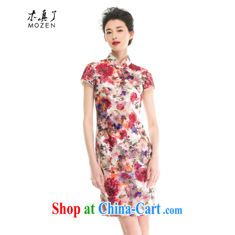 Wood is the cheongsam dress the root yarn stamp cheongsam dress summer 2015 new Chinese female 53,375 05 light red XL