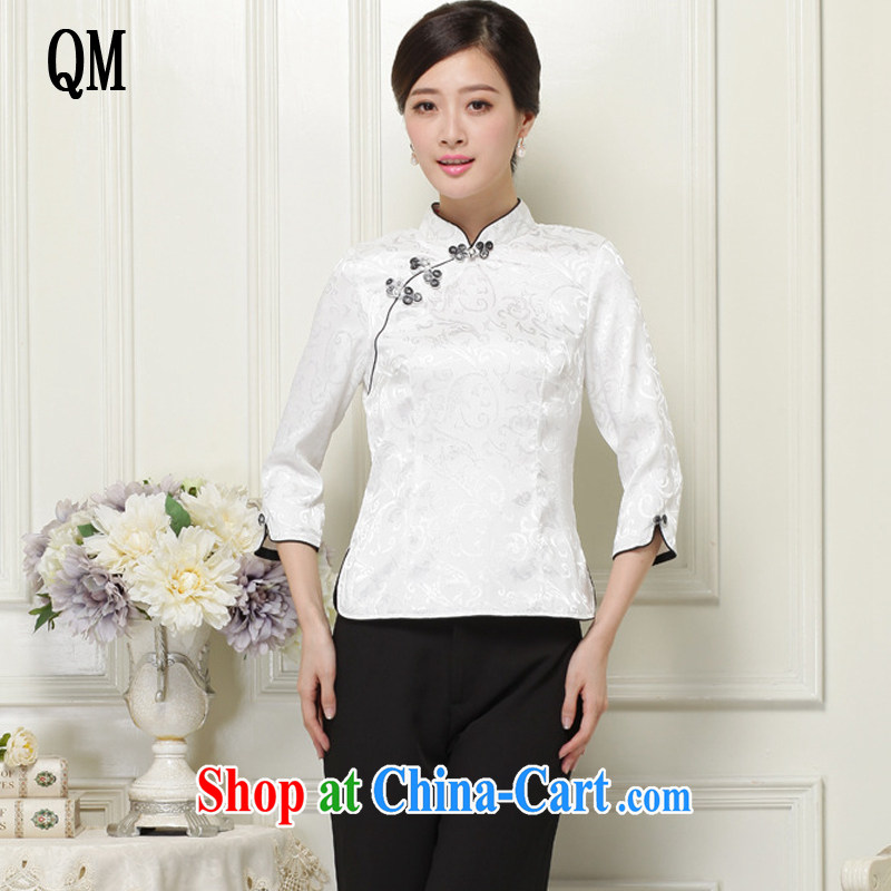 light at the 2015 National wind 7 cuffs and classy improved cheongsam shirt JT 1059 white XL