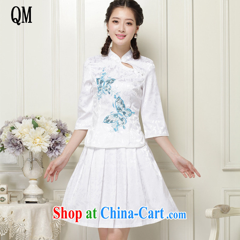 The end is original and stylish outfit two piece in the cuff ends antique dresses, for cultivating cheongsam JT 1055 white XXL
