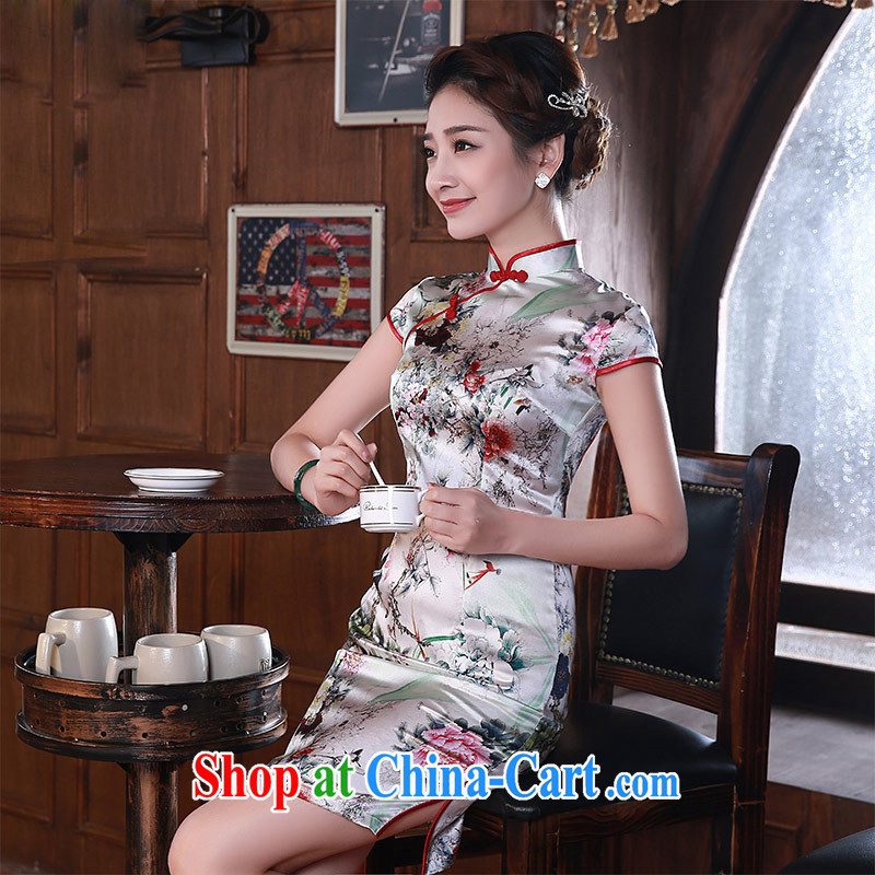 Dresses new 2015 spring retro short-sleeve stylish sauna silk heavy Silk Cheongsam dress Q 1054 fancy XXL