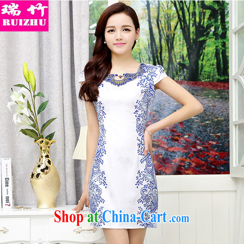 bamboo, summer 2015 new female adornments, and blue and white porcelain party collar dresses retro lady graphics thin short-sleeved further than the hotel KTV clothing Tang with Hester Prynne M