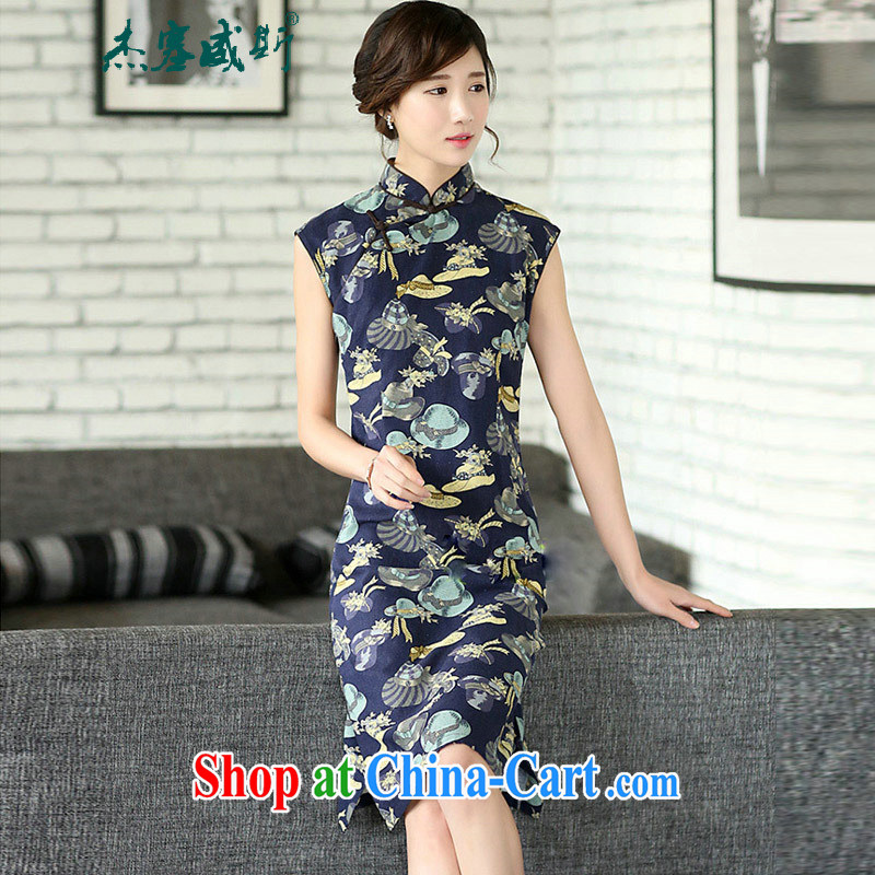 The Jessup, summer Women's clothes retro cheongsam dress manual for improvement and for cultivating the cotton dresses sleeveless Tsing Yi the CAP XXL