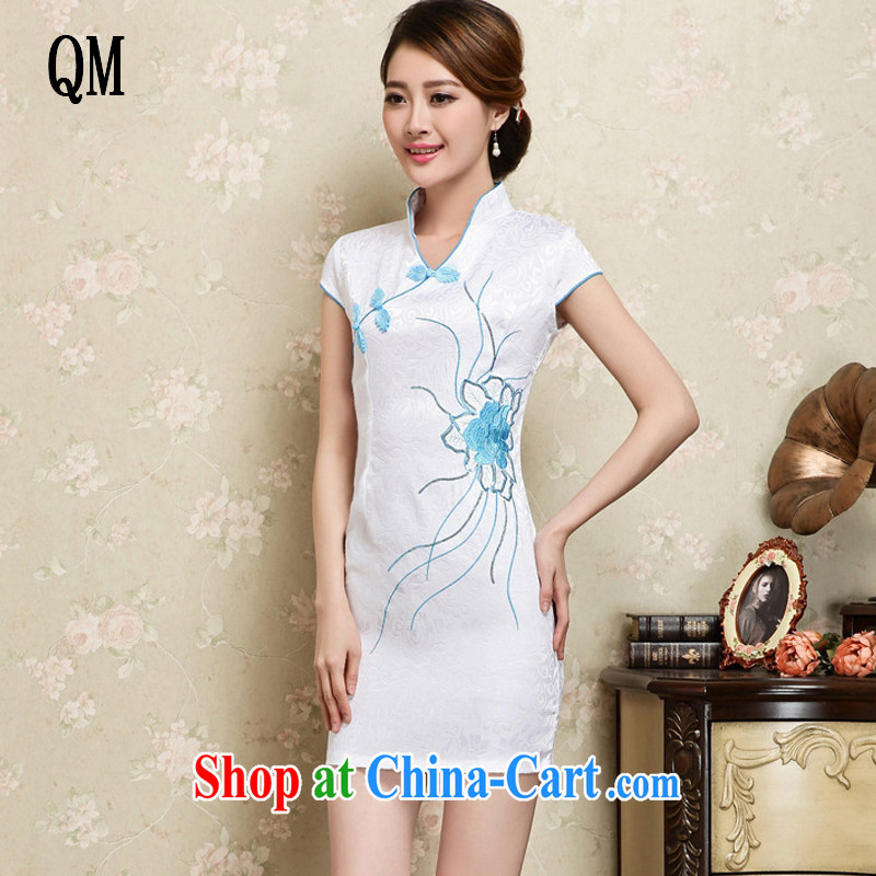 light at the stylish and elegant cotton embroidery improved cheongsam Graphics Style cheongsam short cheongsam JT 1128 white XL