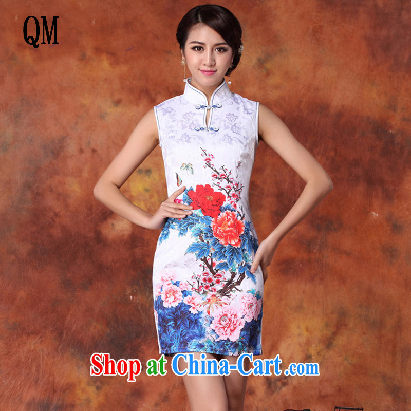 Is China's national air-female stamp beauty cheongsam Chinese summer, for the people, long cheongsam JT 1015 white XL