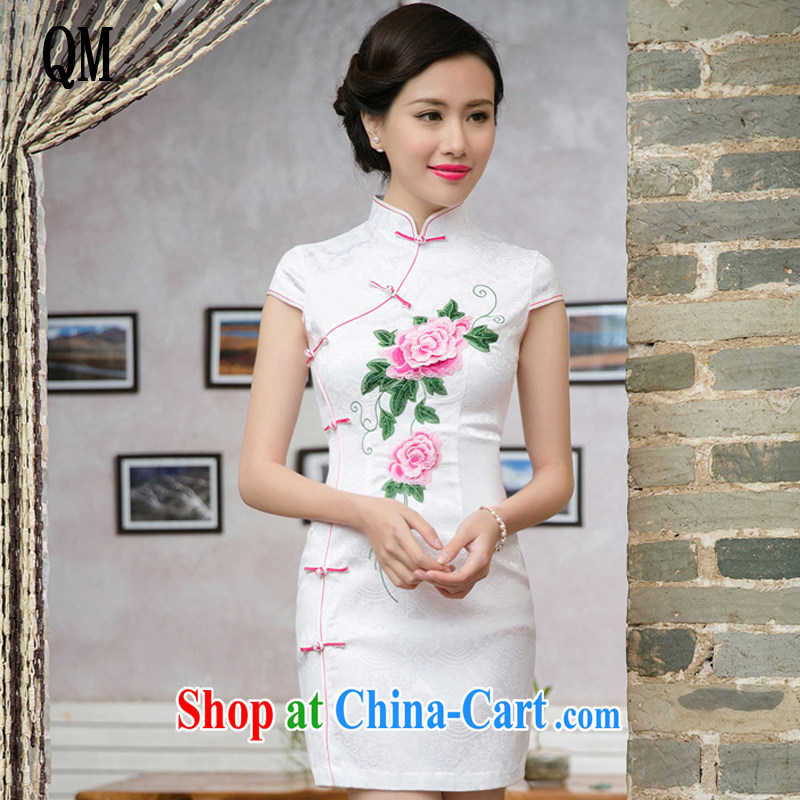 Very late summer 2015 and stylish Ms. improved cheongsam Chinese wind-dimensional embroidered short sleeves cheongsam dress JT 5088 saffron XXL