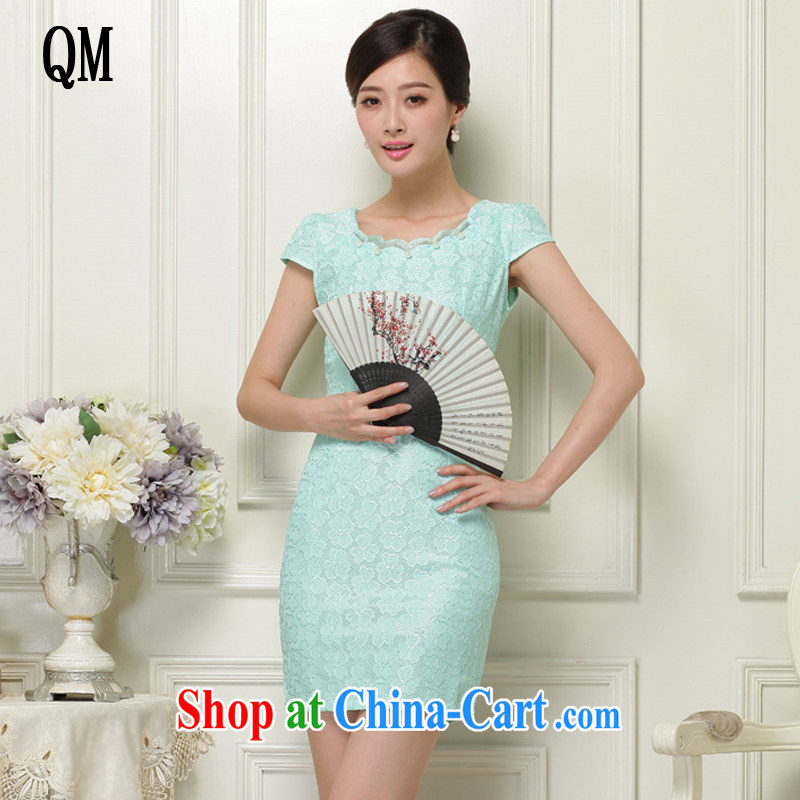 Shallow end, summer lace hook flower Openwork fashion round collar short-sleeved qipao JT 1032 green XL