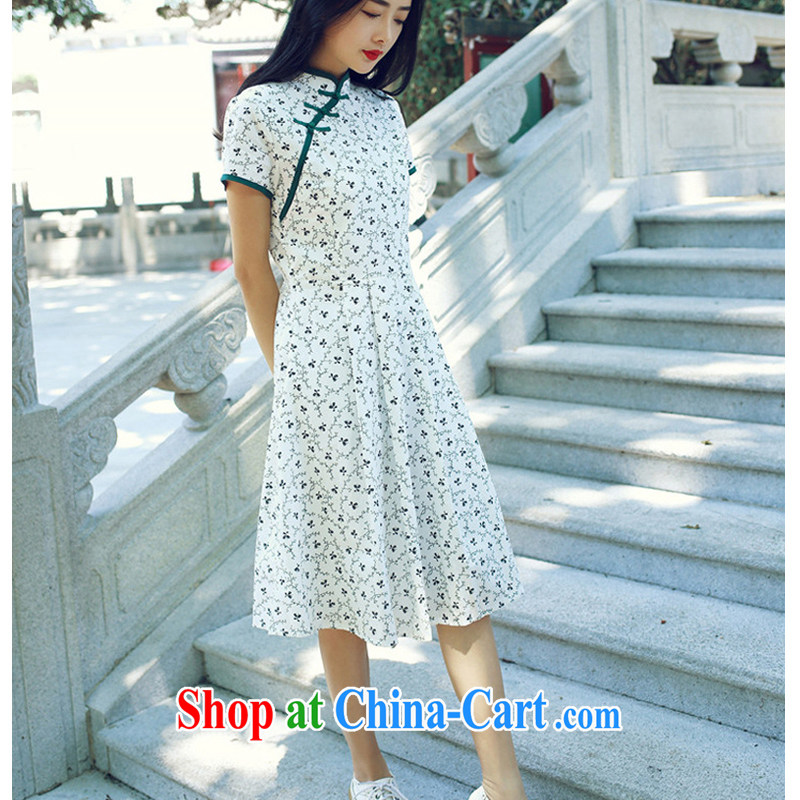 The cross-sectoral time Elizabeth new, improved cheongsam dress summer dresses new small chopper taking charge-back retro style cheongsam dress DK M L 001