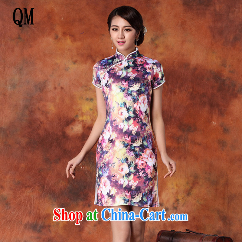 Very late summer 2015 National wind, qipao upscale retro short-sleeved cultivating cheongsam dress female JT 1013 purple XXL