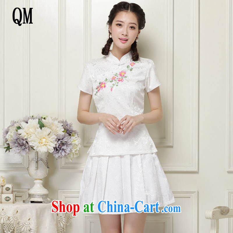 The end is very stylish and improved cheongsam Chinese wind-power's a tight two-piece short set JT 2068 white XXL