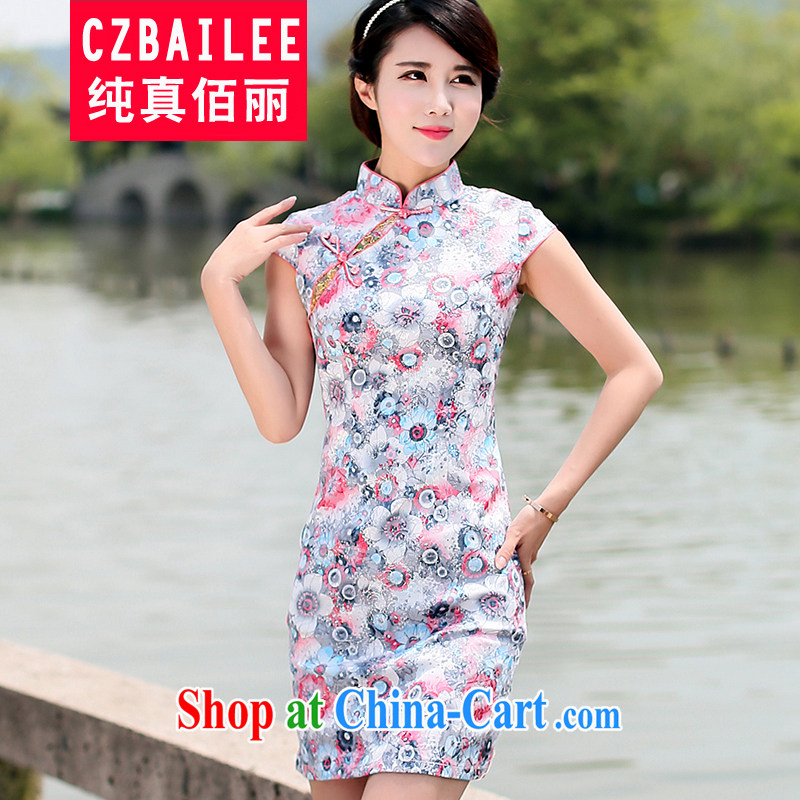 Jin Bai Lai summer lady improved cheongsam dress graphics thin beauty style dress 2015 new short-sleeved package and dresses saffron 4XL