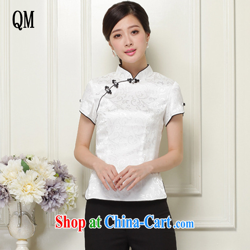 light at the Chinese Tang Replace T-shirt hand-tie stylish short-sleeve improved cheongsam shirt JT 1052 white XXL