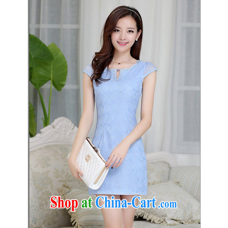 Forest narcissus summer 2015 new Korean lace lady elegant short beauty package and graphics thin dresses cheongsam Chinese JAYT - 23 light blue XXL
