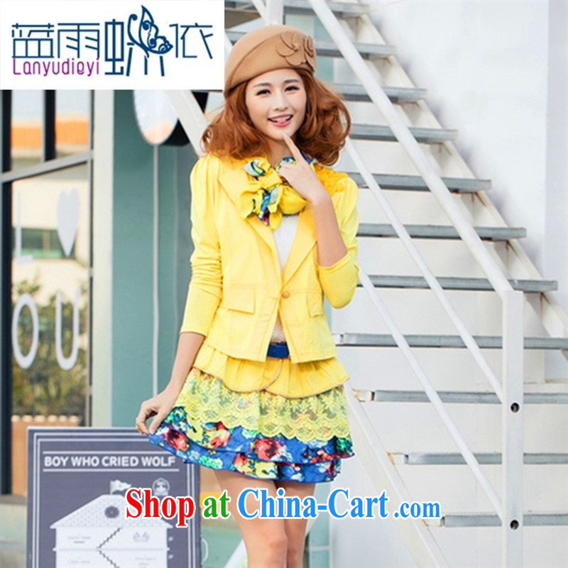 hamilton 2015 new small suit new female Korean Beauty two-piece long-sleeved jacket sleeveless dress pink XXL