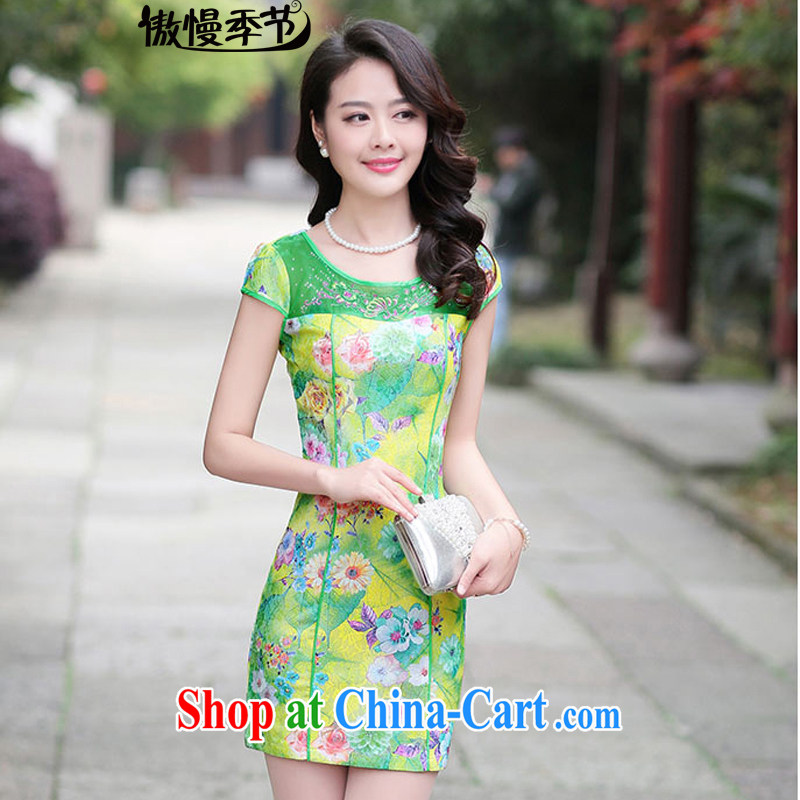 Arrogant season summer 2015 New Beauty video thin package and stamp duty short-sleeved lace dresses female yellow bottom rose XXL
