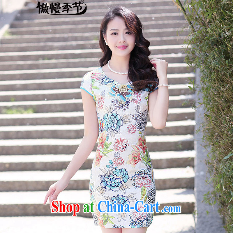 Arrogant season summer 2015 ladies' new stylish dress short-sleeved style lady beauty dresses, female m bottom take XXL
