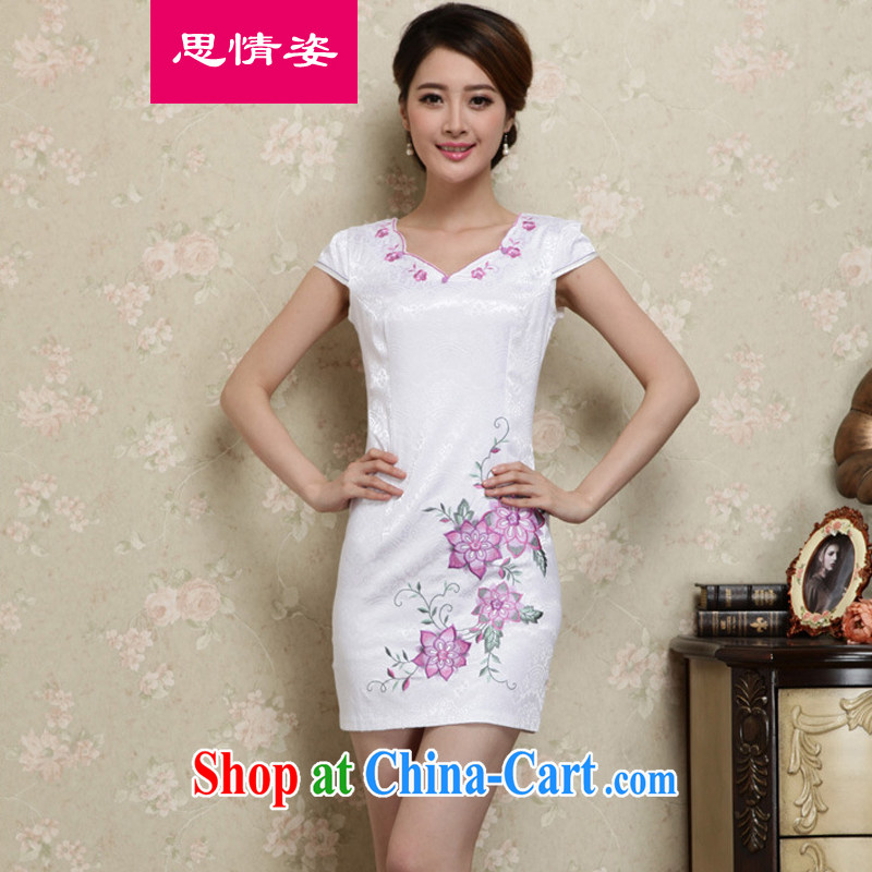 The Scent of Summer 2015 new women with improved cheongsam girls short-sleeved dresses summer purple XL