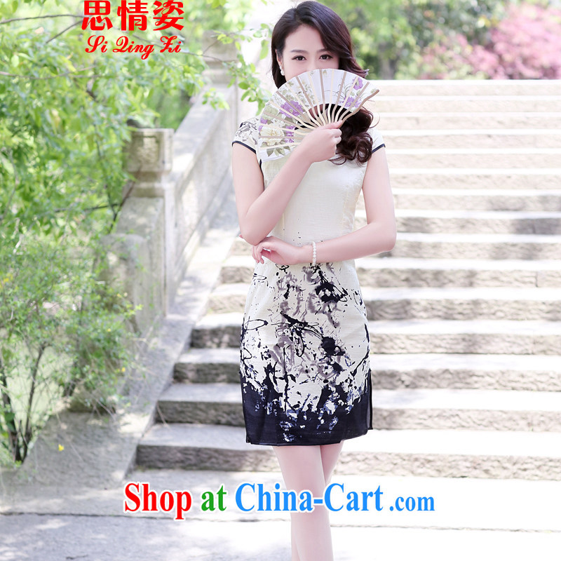 The Scent of Summer 2015 new antique paintings improved short-sleeve cheongsam dress dresses painting L