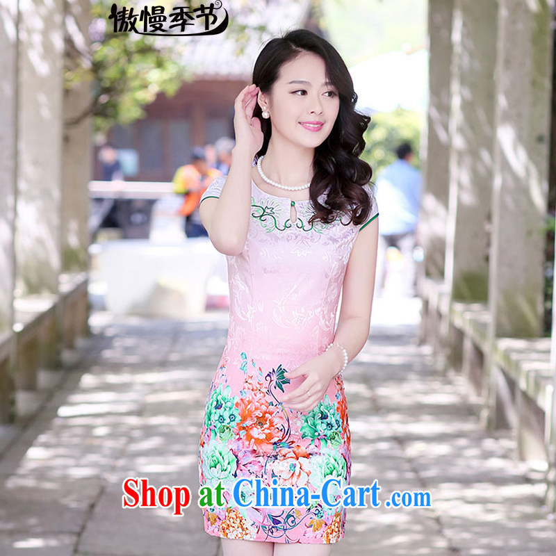 Arrogant season 2015 spring and summer with new short-sleeved cheongsam dress retro beauty graphics thin dresses, long embroidered embroidery cheongsam toner the Peony XXL