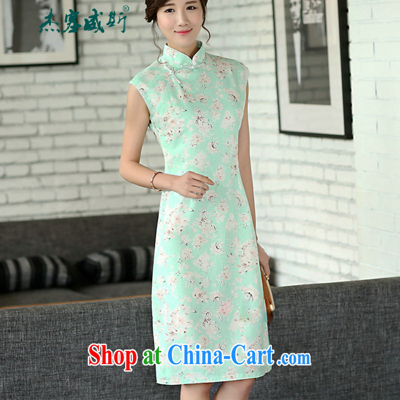 The Jessup, Mr Ronald ARCULLI, female retro stamp cultivating cheongsam dress improved, manually for a field unit for the dresses sleeveless green roses XXL