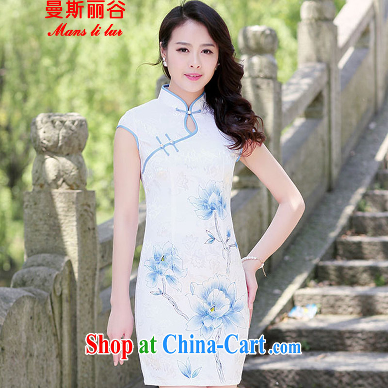 The beautiful valley summer 2015 new cultivating improved Chinese, elegant qipao skirts dresses summer blue lotus L