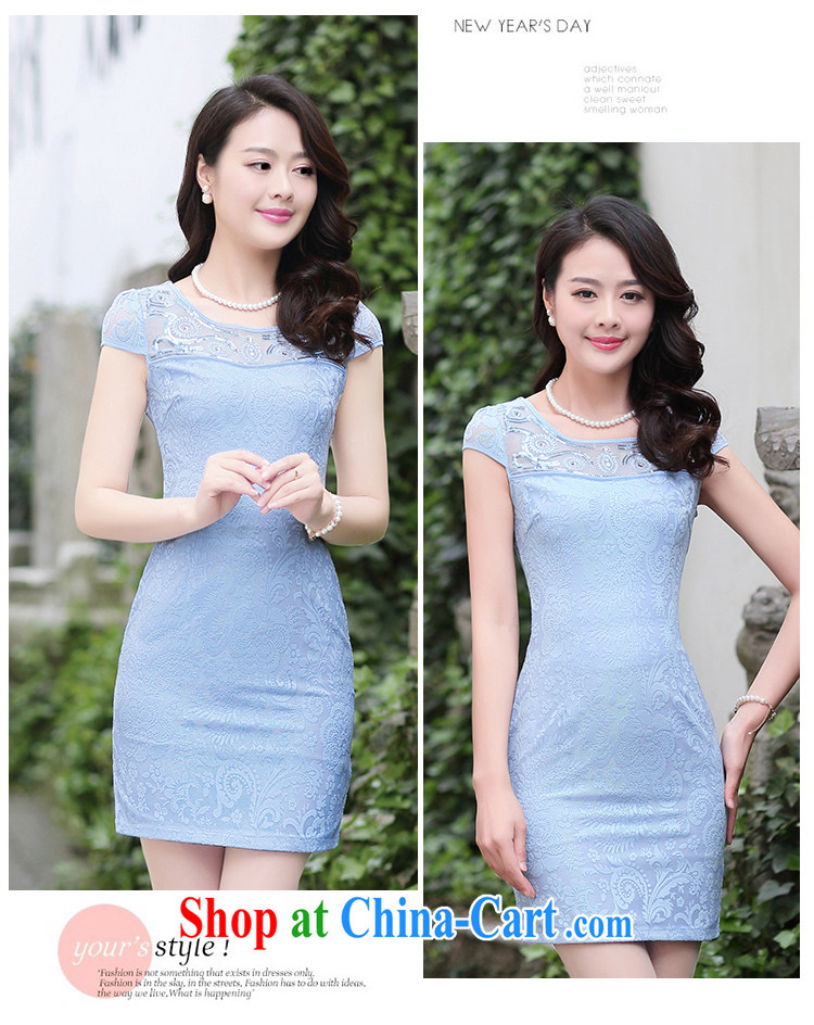 2015 summer new stylish improved embroidery cheongsam girl short lace cheongsam dress summer blue XXL pictures, price, brand platters! Elections are good character, the national distribution, so why buy now enjoy more preferential! Health