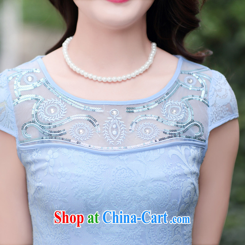 2015 summer new stylish improved embroidery cheongsam girl short lace cheongsam dress summer blue XXL, Ms. Tung (Miss . Dong), online shopping