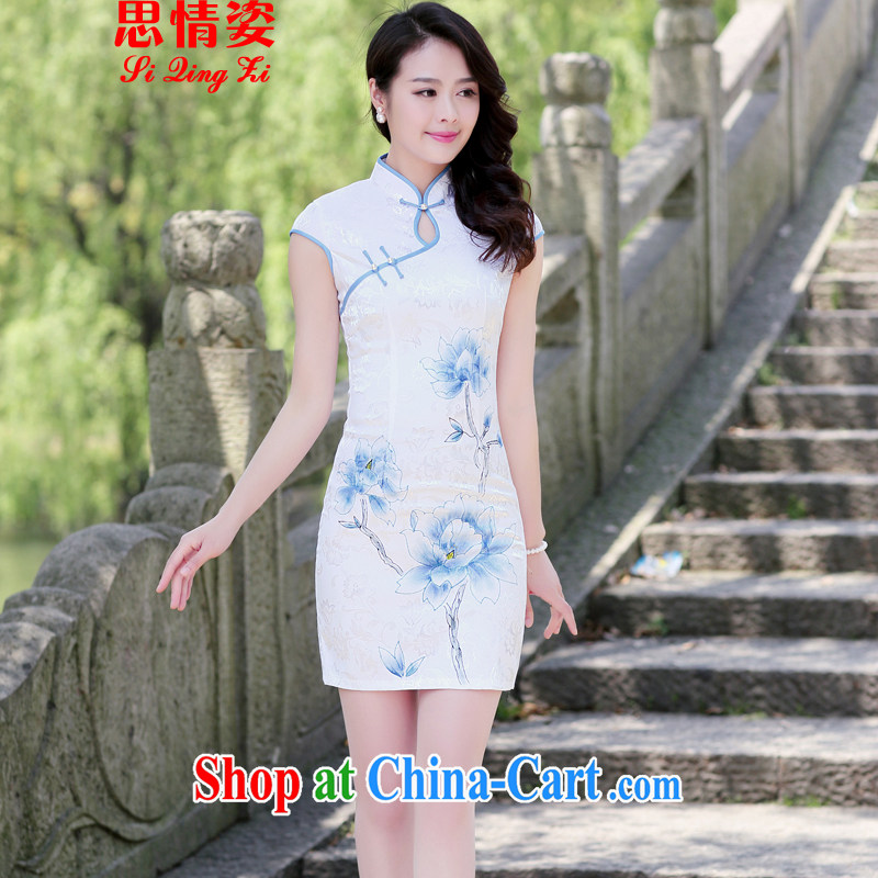 Summer 2015 new cultivation improved Chinese, elegant cheongsam dress dresses summer blue lotus L