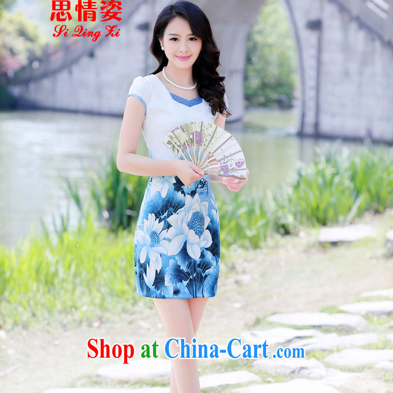 The beautiful valley summer 2015 new female retro stamp beauty fashion cheongsam dress summer blue Peony XXL