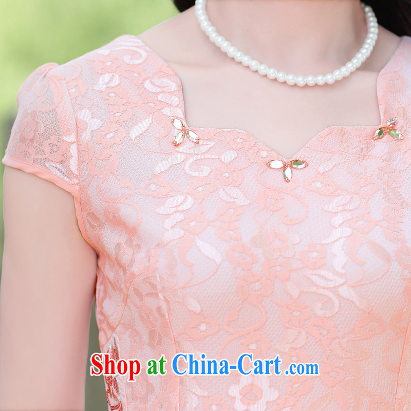Mansfield, valley, summer 2015 new Chinese elegant antique beauty graphics thin package and improved cheongsam dress pink XL, Cayman, Lai Valley, shopping on the Internet