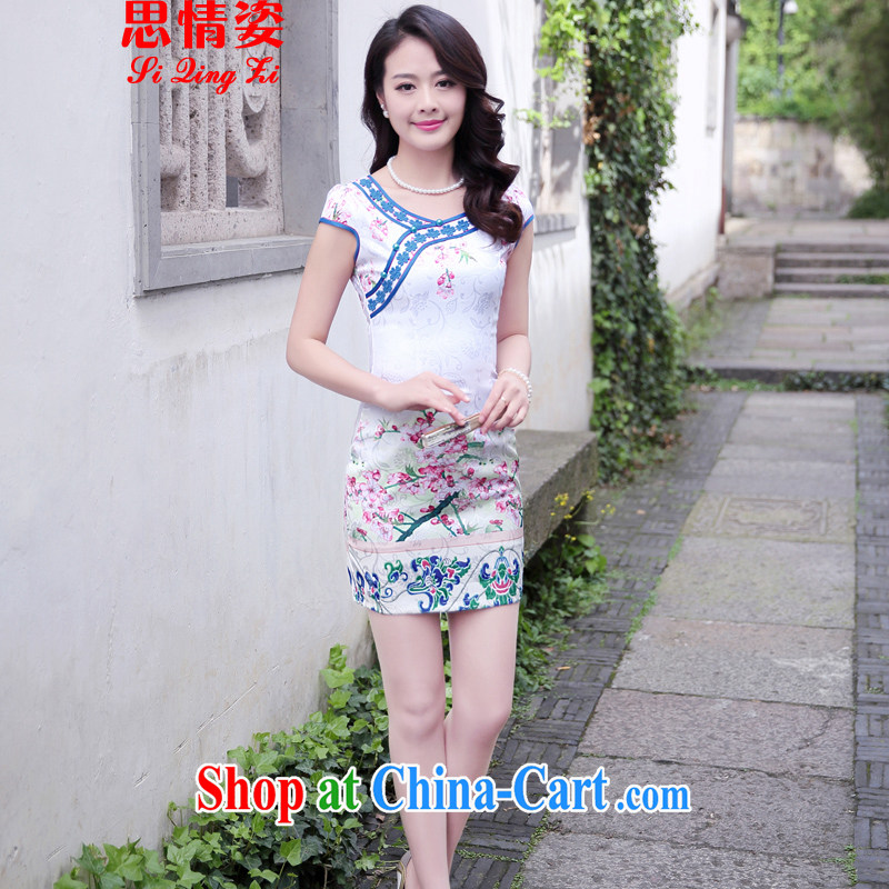 Summer 2015 new stylish and refined beauty, stamp duty cheongsam dress female toner Phillips L