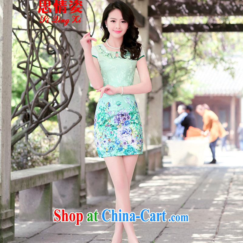 The beautiful valley summer 2015 new cheongsam dress short-sleeved beauty stamp duty ethnic wind package and qipao girls green the Peony XL