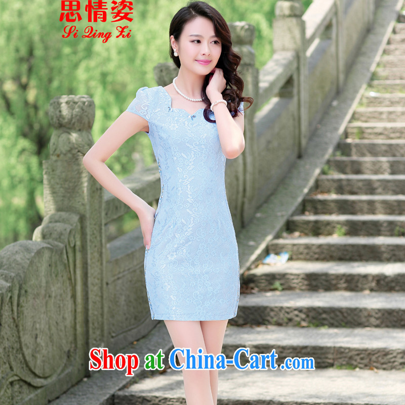 Summer 2015 new Chinese elegant antique beauty graphics thin package and improved cheongsam dress blue XXL