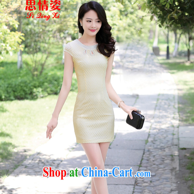 2015 women dresses new Chinese improved simple lace cheongsam dress female apricot XXL