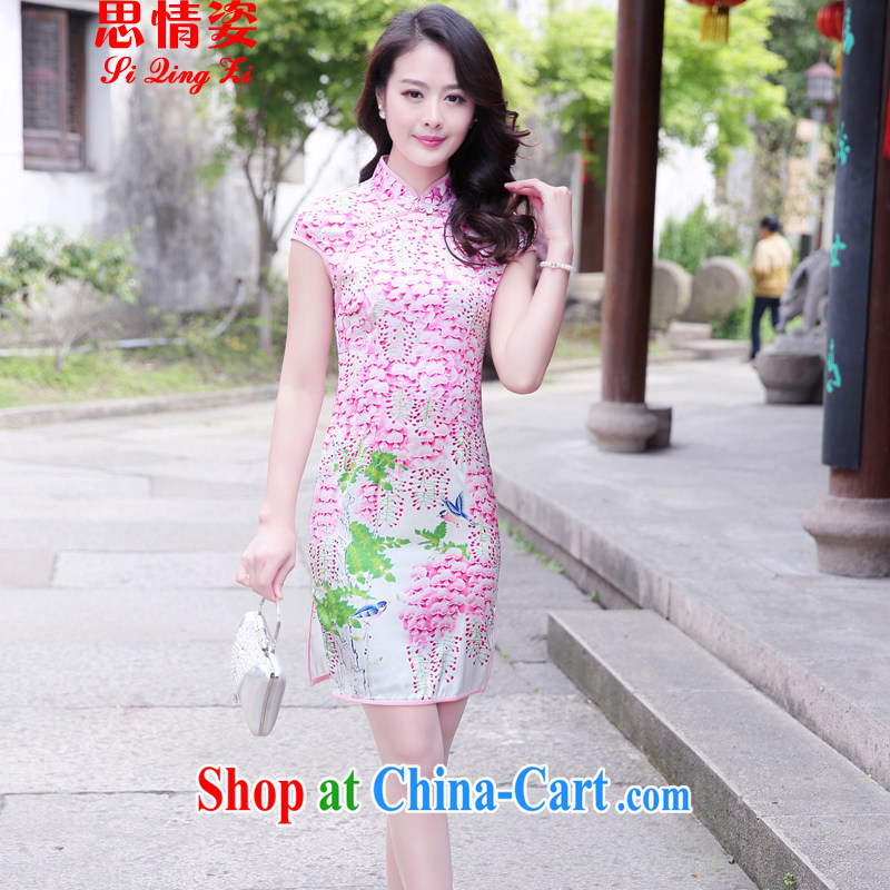 Summer 2015 new stylish improved retro short sleeve cheongsam dress of summer flowers XL